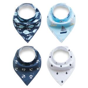 4pcs-Baby-Bibs-Pure-Cotton-Bandana-Feeding-Kids-Toddler-Boy-Navy-Blue-Gray-Green
