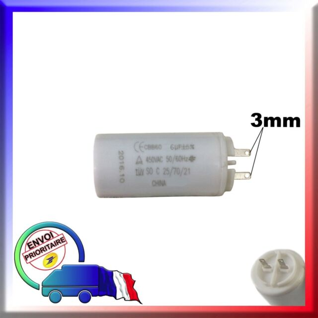 Condensateur de démarrage moteur volet roulant de marque Euromatik de 6μF / 6uF