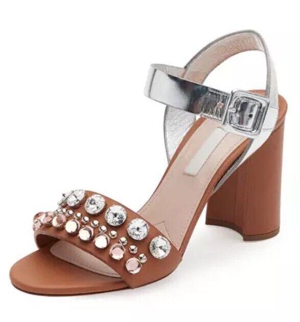 8a09a2484 MIU MIU Women s Jeweled Block Heel Leather Sandals Neutral 6401 Sz 40 EUR  for sale online