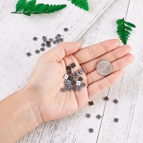 50pcs dépôt électrolytique Non-magnétique Hématite Perles brins Square platine 6x6x1mm