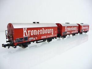 Minitrix-N-1-160-13594-3-teiliger-Kuehlwagen-KRONENBOURG-BIERE-D-039-ALSACE-E-V-S
