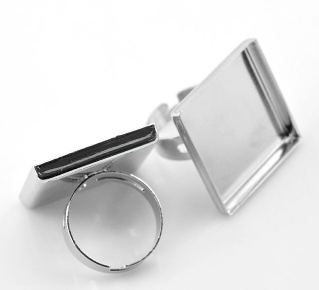 10PCs Silver Tone Adjustable Square Cabochon Setting Ring Blank 18.7mm(US 8)