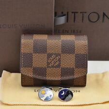 Authentic  Louis Vuitton Damier Cuff Links Case and Cuff Links Silver #U283