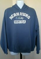 Vtg Seattle Seahawks Official NFL Blue Hoodie Sweatshirt Pullover Adult Size XL