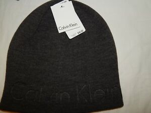 787a5b009f8 Image is loading Stocking-Cap-Beanie-Calvin-Klein-Embossed-Logo-Gray-