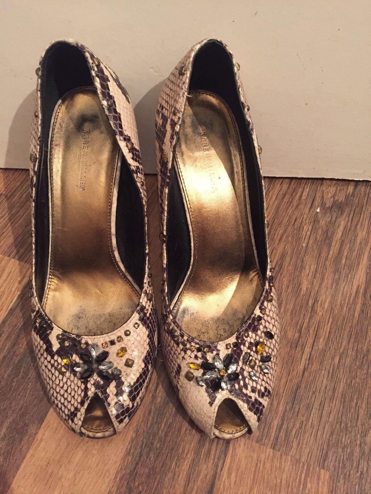 Vintage Beige And Brown Mock Snake Leather Bling Peep Toes Karen Millen Size 6.5