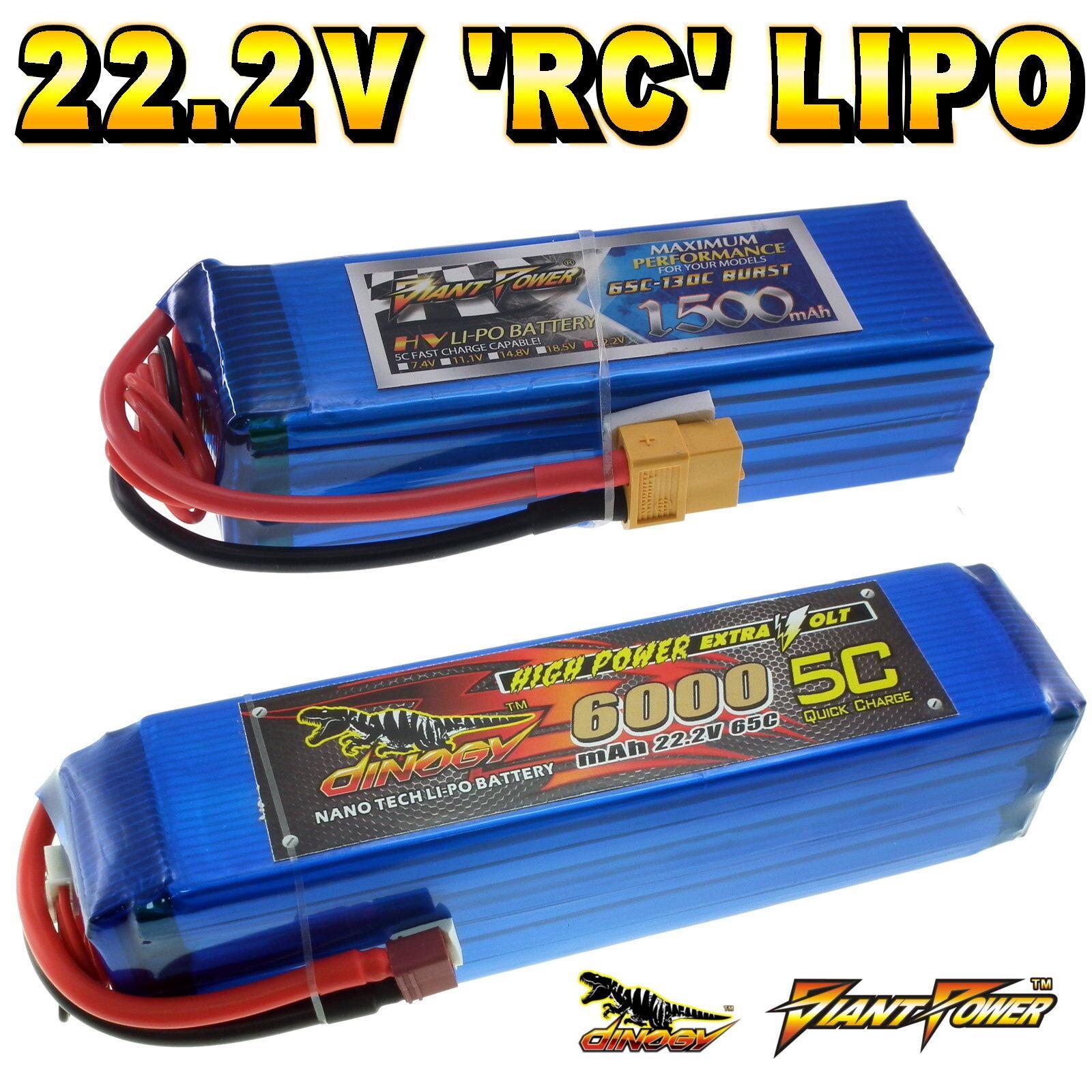 22.2v 1500 a 6000mah 6s RC LIPO BATTERIA  FINO A 65c tutte le taglie + Connettore personalizzato  prima qualità ai consumatori