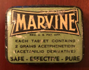 VINTAGE-MEDICINE-1-3-4-034-ACROSS-MARVINE-HEADACHES-PAINS-TIN-CAN-BOX-EMPTY
