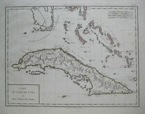 Original 1798 Tardieu Map CUBA BAHAMAS Florida Keys Cat Island ...
