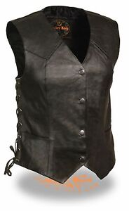 Ladies-Classic-Fitted-Side-Lace-Snap-Front-Vest-Perfect-For-Motorcycle-Riders