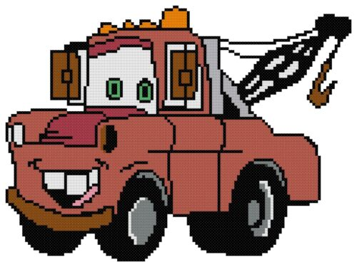 Tow Mater from Cars Counted Cross Stitch Pattern Free US Shipping