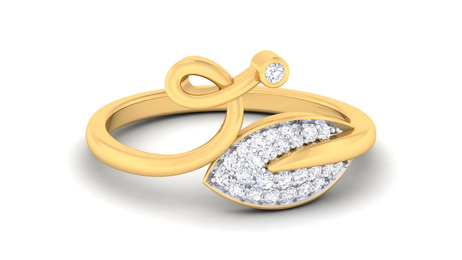 Pave 0.22 Cts Round Brilliant Cut Diamonds Engagement Ring In Solid 18Karat gold