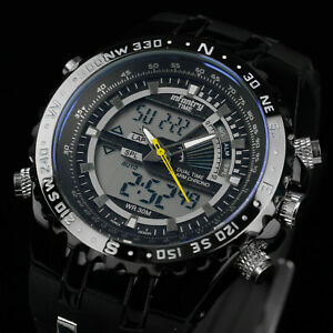 INFANTRY-Mens-LCD-Digital-Quartz-Wrist-Watch-Chronograph-Sport-Army-Black-Rubber
