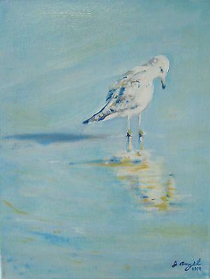 "/""Three Gulls/"" Original Oil painting Artist JOHN ANZEL Print"