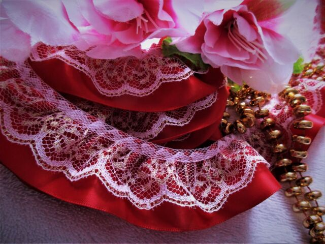 Lovely GOLD with red ruffled lace trim 1 1/2 inch wide - price for 1 yard