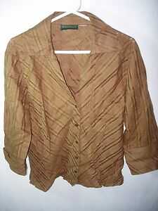 WOMENS-BROWN-HARVE-BENARD-100-LINEN-CAREER-CASUAL-BLOUSE-TOP-SHIRT-SIZE-XL-46