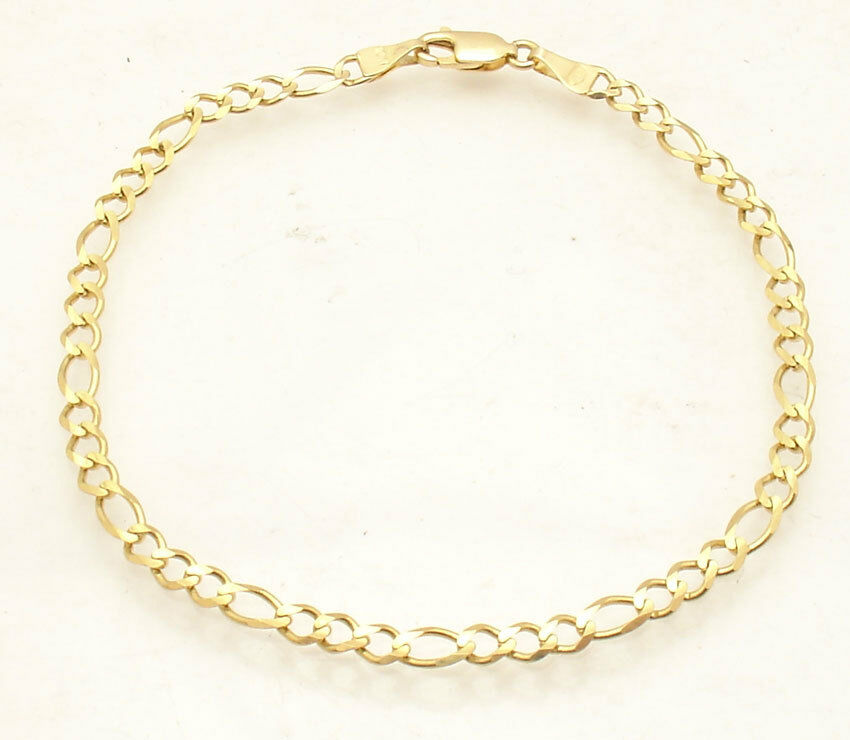 8  Mens Solid All Shiny Royal Figaro Link Bracelet Real 10K Yellow gold 3.7gr