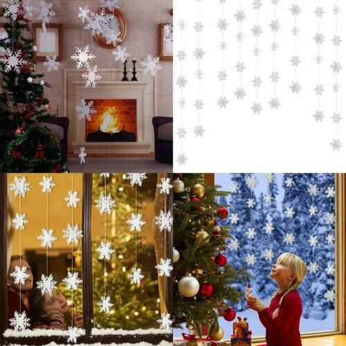Hanging Garland 3D White Snowflake  Home Holiday Indoor Decor 24Pcs