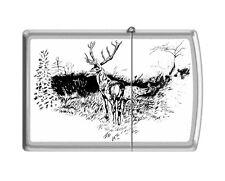 Zippo 205 buck with doe black & white artist print deer hunting Lighter