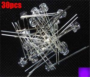 30Pcs-X-5Mm-Strohhut-Uv-Lila-Super-Helle-Led-Leuchtdiode-qp
