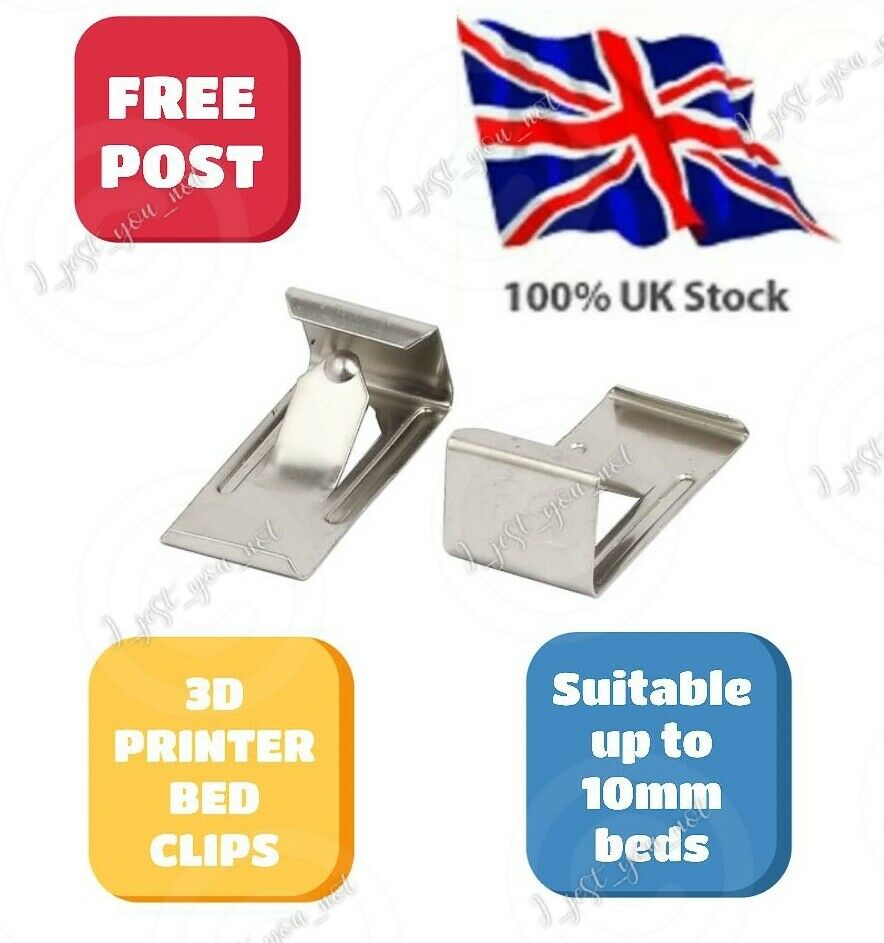 UPGRADE Low Profile 3D Printer Glass Bed Clips x4 Ender 3 5 & Pro CR-10, 10S
