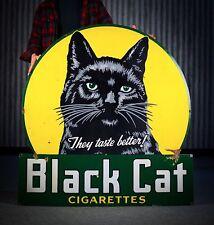 Original Black Cat Cigarettes Porcelain Sign RARE!