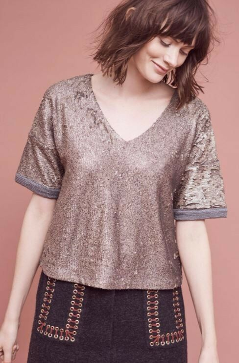 Anthropologie Deletta Sequin Tee NWT - Größe  Small