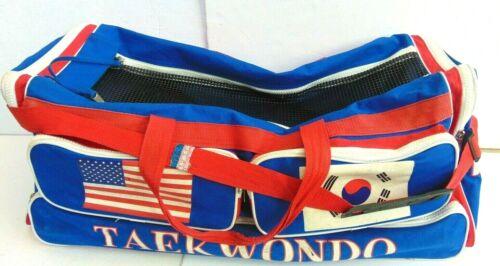 """ATA Taekwondo Karate Martial Arts Sparring Gear Bag Duffel Blue /& Red  29/"""""""