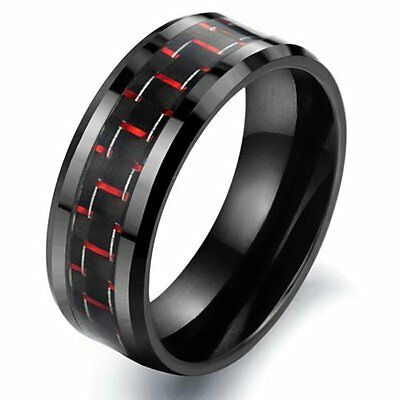 Tungsten Carbon Fiber Black & Red Colour Mens Wedding Ring Size 6 - 10