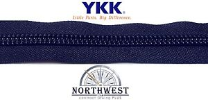 YKK Nylon Coil Zipper Tape # 10 Navy 10 yards with 10 Nickle Zipper Sliders