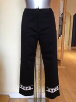 Leslie Trousers Size 12 Black Cream Rrp £155 Now £49