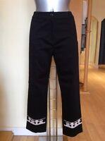 Leslie Trousers Size 12 Black Cream Rrp £155 Now £49