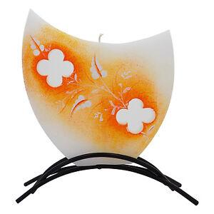 Dekorative-Designer-Flachkerze-mit-Motiv-und-Metallfuss-Handarbeit-Art127orange
