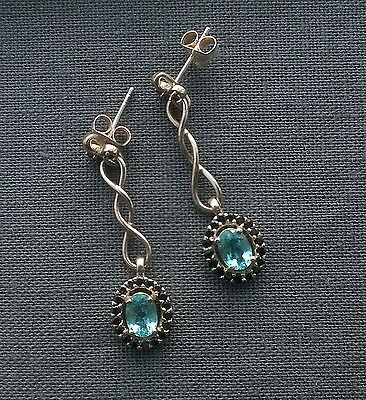AUTHENTIC 925 sterling silver Pariba Apatite & black Spinel infinity earrings