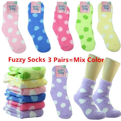 3-10 Pairs Cozy Fuzzy Super Soft Winter Dot Slipper Crew Socks 9-11