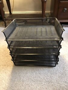 """DESK ORGANIZER 12"""" Letter Paper Trays Stackable BLACK WIRE MESH 5 Tiers 5 PIECES"""