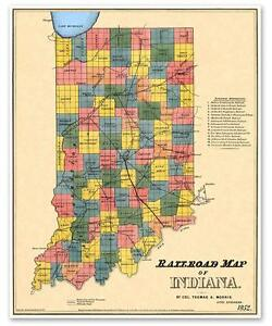 Details about State of INDIANA USA Old Railroad County Map Indianapolis on usa map in new jersey, texas in indiana, home in indiana, butterflies in indiana, weather in indiana, dinosaurs in indiana, zip code map in indiana, animals in indiana, transportation in indiana, usa map in miami, star in indiana,