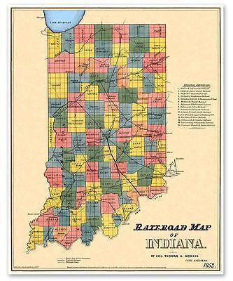 State of INDIANA USA Old Railroad County Map Indianapolis Fort Wayne circa  1852 | eBay