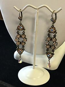 Michal-Negrin-Vintage-Style-Champagne-Color-Flower-Drop-Dangle-Fashion-Earrings