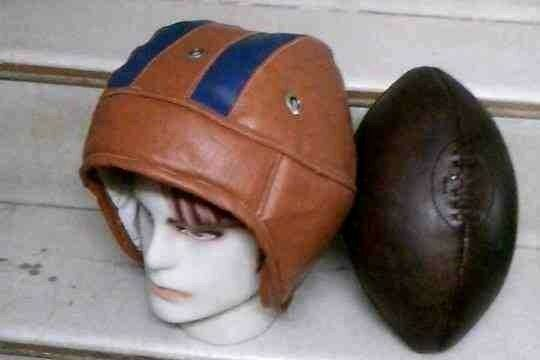 1930's Vintage Style Leather football helmet & Football, Size 5