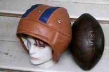 1930's Vintage Style Leather football helmet & Football, Size 5