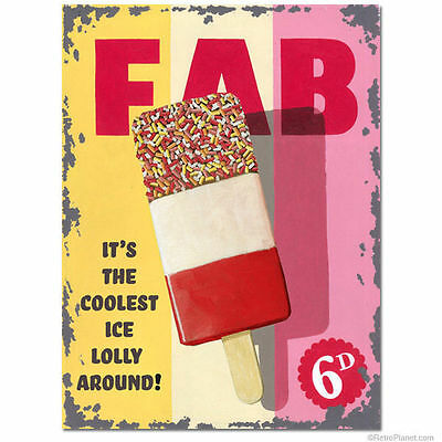 Fab Lolly, Ice Cream Vintage Shop Kitchen Cafe Food Old, Large Metal Tin Sign
