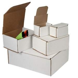 100 - 7 x 4 x 1 White Corrugated Shipping Mailer Packing Box Boxes