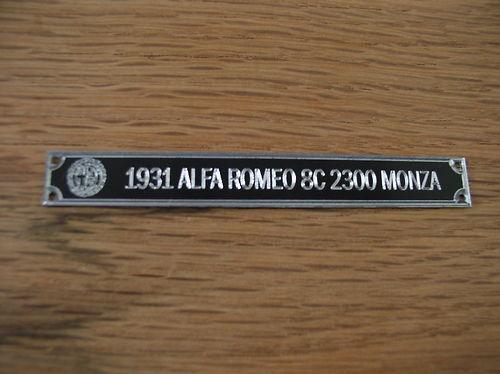 Pocher 1//8 1931 Alfa Romeo 8C 2300 Monza Metal Display Plaque