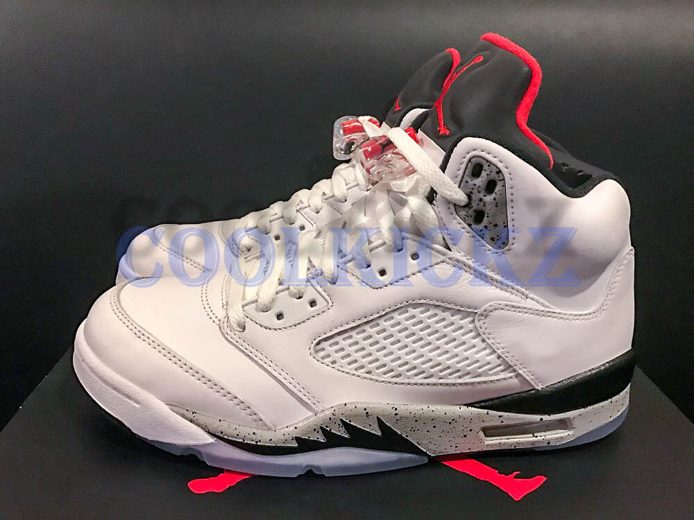 Nike Air Jordan 5 V Retro 4Y-13 White Cement Red Silver Black 136027-104