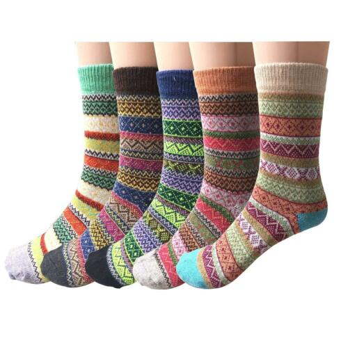 5 Pairs Women Ethric Thick Thermal Multi-Color Socks Woolen Woven Cashmere Socks