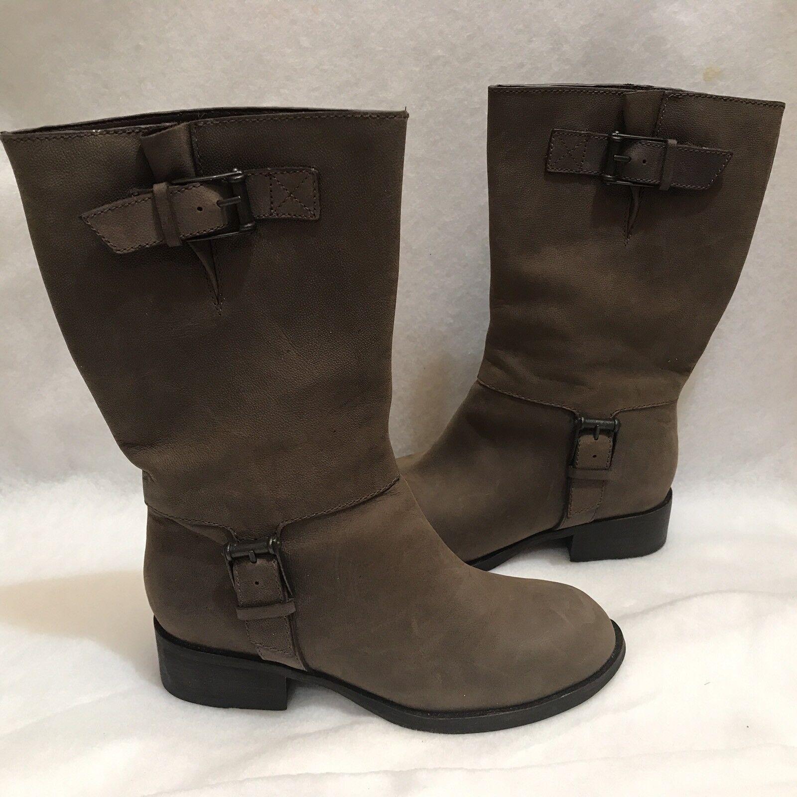 Cole Haan Air Mid Calf Cowboy Roper Boot Brown Full B Grain Leather Riding 7 B Full 7427f7