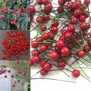 100x-Rosso-Artificiale-FRUTTA-Berry-a-due-punte-Artigianato-Home-Christmas-Decor