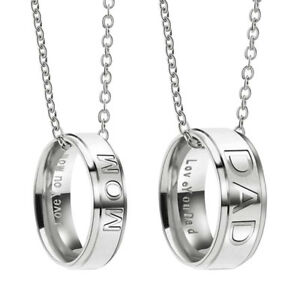 Mom Or Dad Stainless Steel Love You Engraved Ring Necklace
