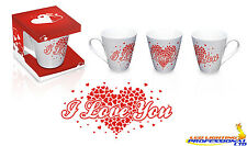 "COFFEE TEA MUG ""I LOVE YOU"" HEART BIRTHDAY VALENTINE'S DAY GIFT - EXV009"